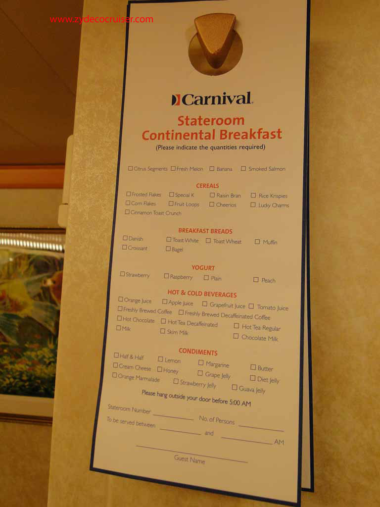 How Early For Room Service Breakfast Cruise Critic